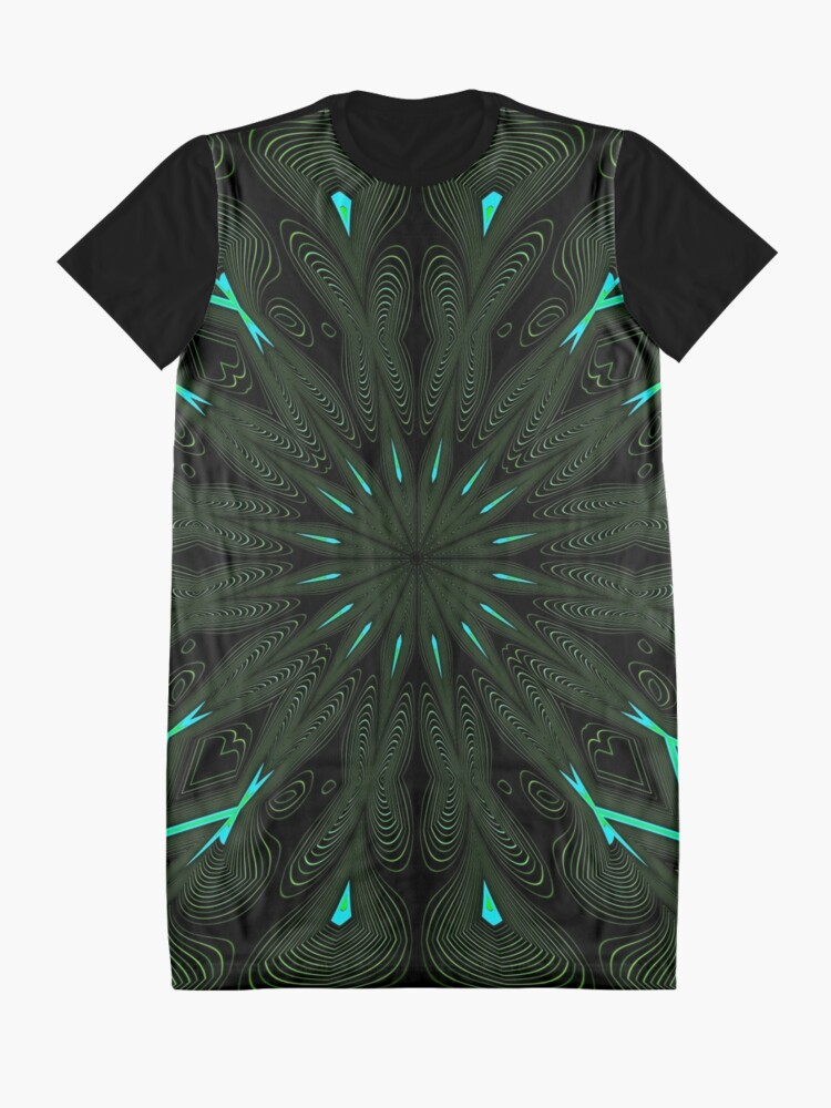 Alternate view of Fractal Madness - Neon Green Black Graphic T-Shirt Dress