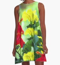 Red and Yellow Hibiscus A-Line Dress
