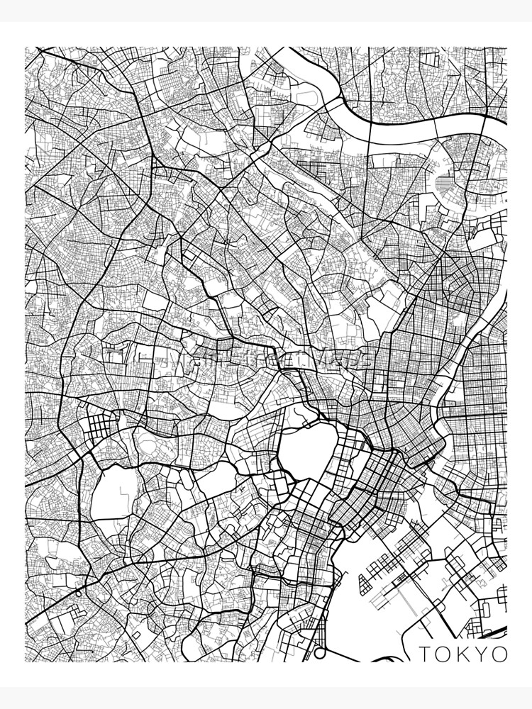 Tokyo Map, Japan - Black and White by MainStreetMaps