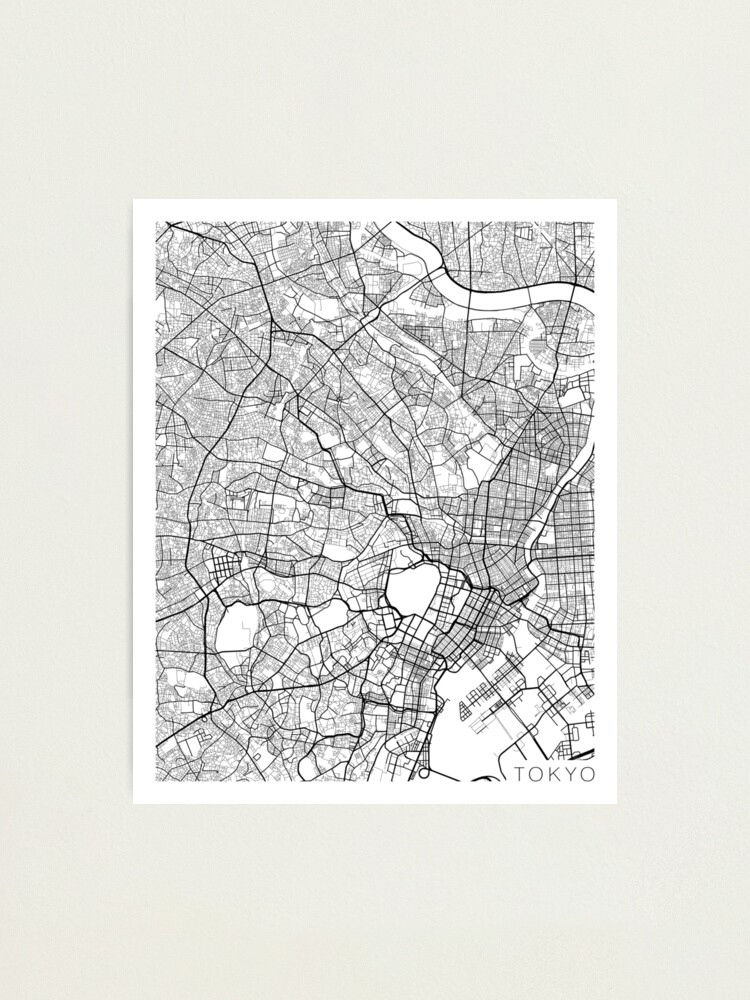 Alternate view of Tokyo Map, Japan - Black and White Photographic Print