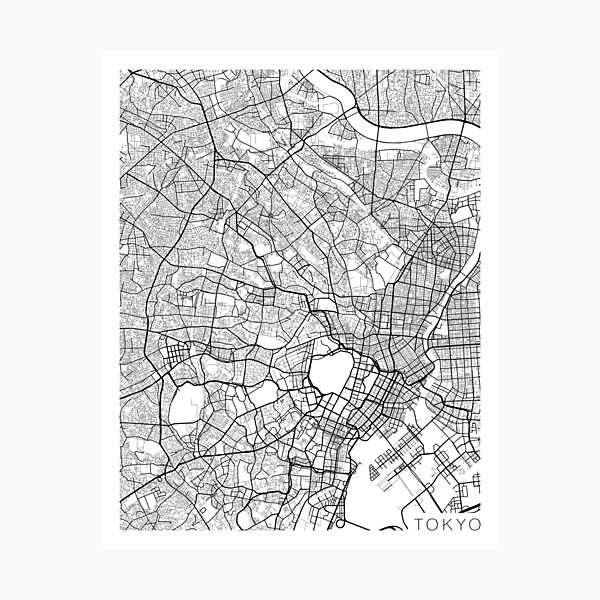 Tokyo Map, Japan - Black and White Photographic Print
