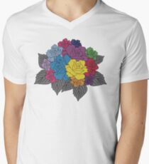 Colourful Bunch of Roses Mens V-Neck T-Shirt