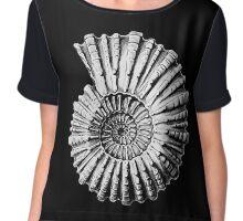 Vintage Ammonite Spiral Fossil Chiffon Top