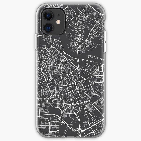Amsterdam Map, Niederlande - Grau iPhone Flexible Hülle