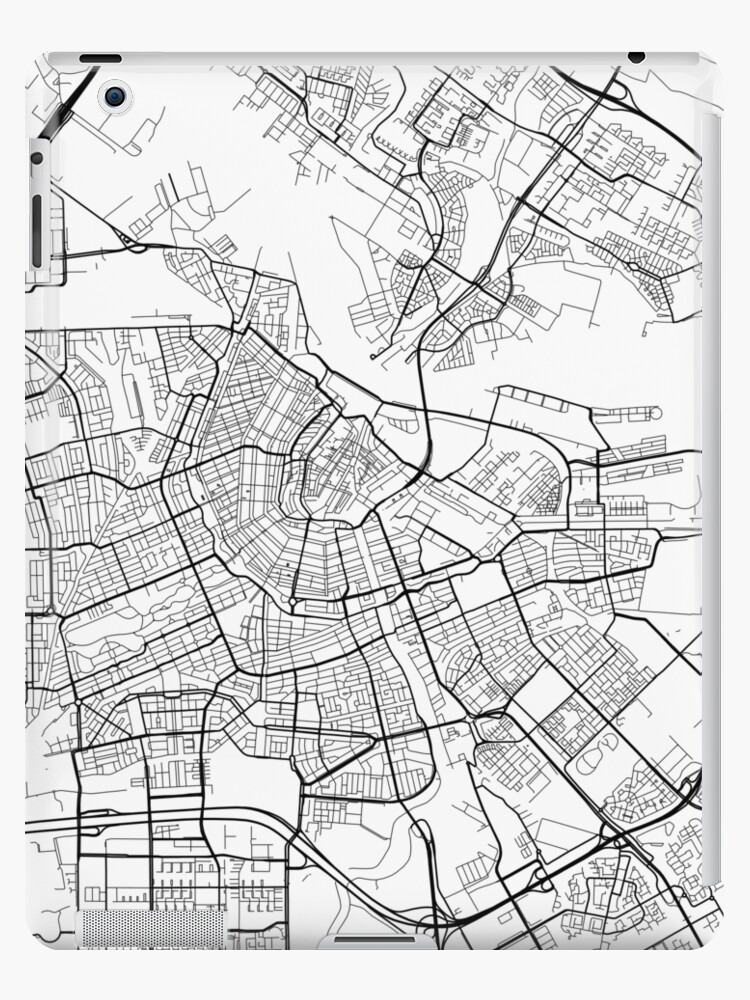 'Amsterdam Map, Netherlands - Black and White' iPad Case/Skin by  MainStreetMaps
