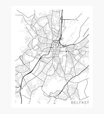 Belfast Map, Northern Ireland - Black and White Photographic Print