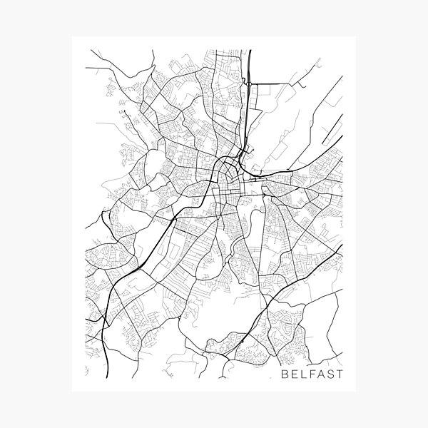 Belfast Map, Northern Ireland - Black and White Photographic Print