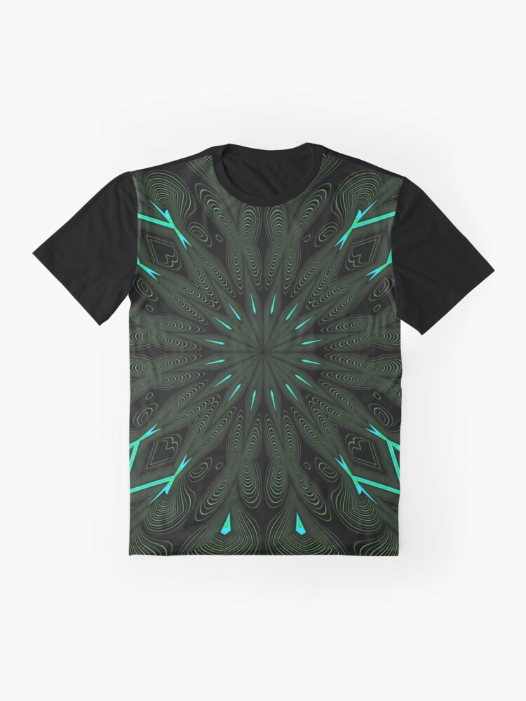 Alternate view of Fractal Madness - Neon Green Black Graphic T-Shirt