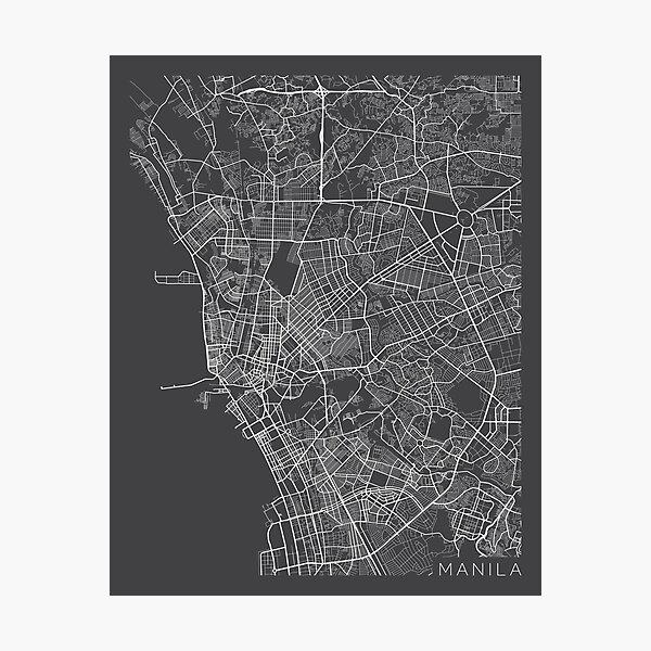 Manila Map, Philippines - Gray Photographic Print