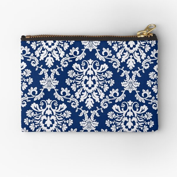 Navy Damask Zipper Pouch