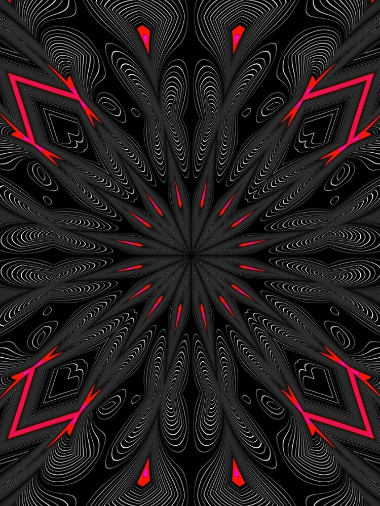 Fractal Madness - Neon Red Black 1  by vkdezine