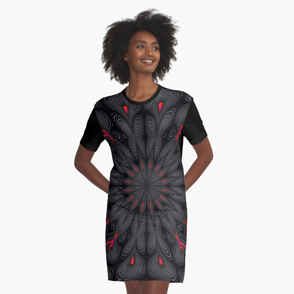 Fractal Madness - Neon Red Black 1  Graphic T-Shirt Dress