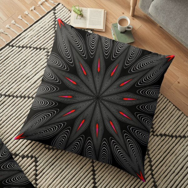 Fractal Madness - Neon Red Black 2 Floor Pillow
