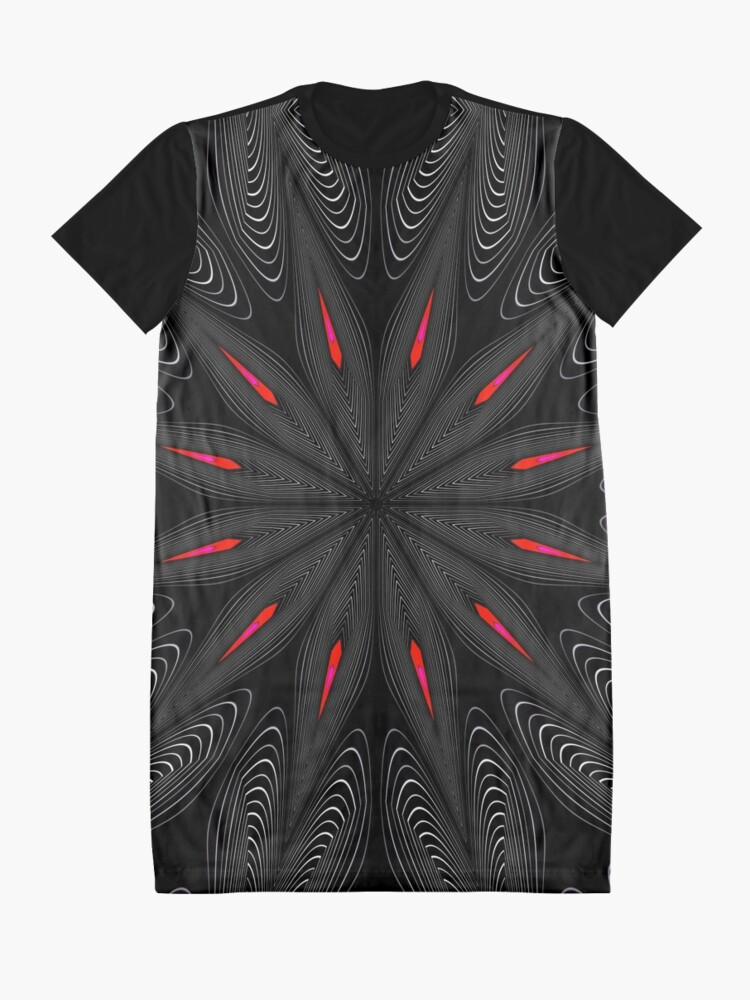 Alternate view of Fractal Madness - Neon Red Black 2 Graphic T-Shirt Dress