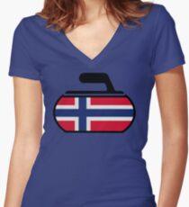 Norwegian Curling Women's Fitted V-Neck T-Shirt