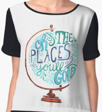 Oh The Places You'll Go - Vintage Typography Globe Women's Chiffon Top