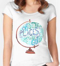 Camiseta entallada de cuello ancho Oh los lugares a los que irás - Vintage Typography Globe