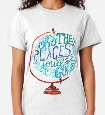Camiseta clásica Oh los lugares a los que irás - Vintage Typography Globe