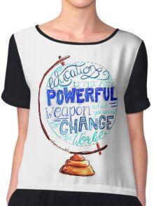 Nelson Mandela - Education Change The World, Typography Vintage Globe Design Chiffon Top