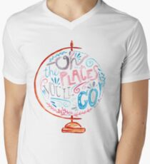 Oh The Places You'll Go - Typography Vintage Globe in Pink Blue Grey T-Shirt