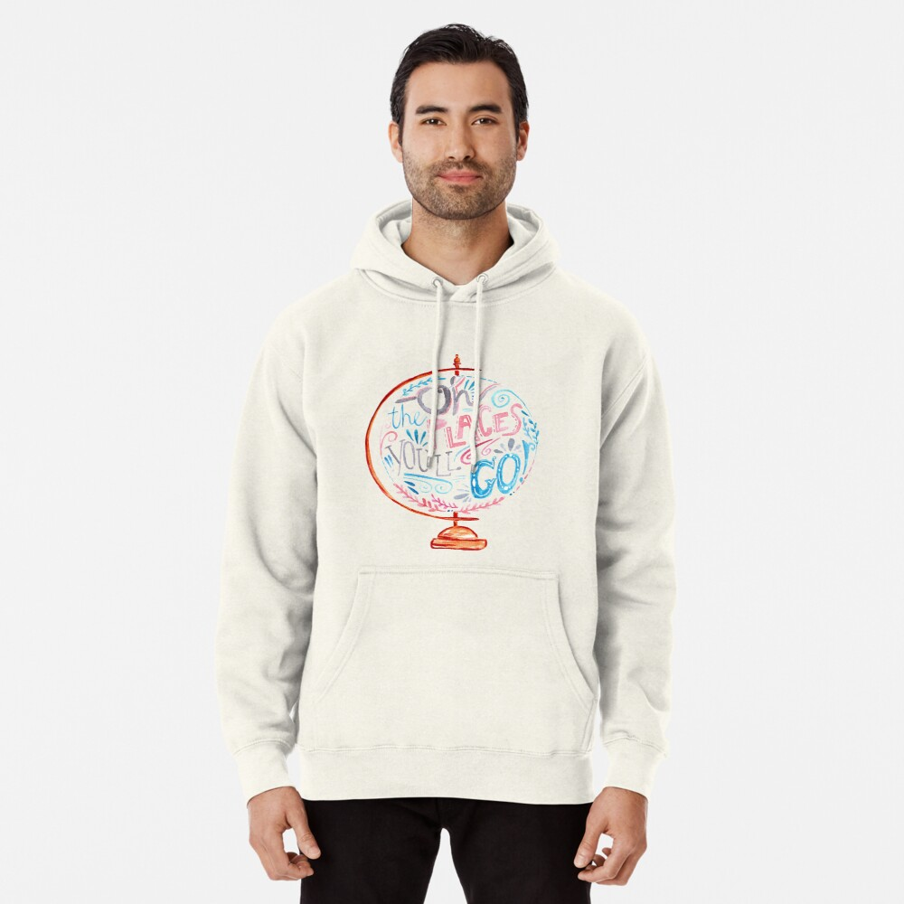 Oh The Places You'll Go - Typography Vintage Globe in Pink Blue Grey Pullover Hoodie
