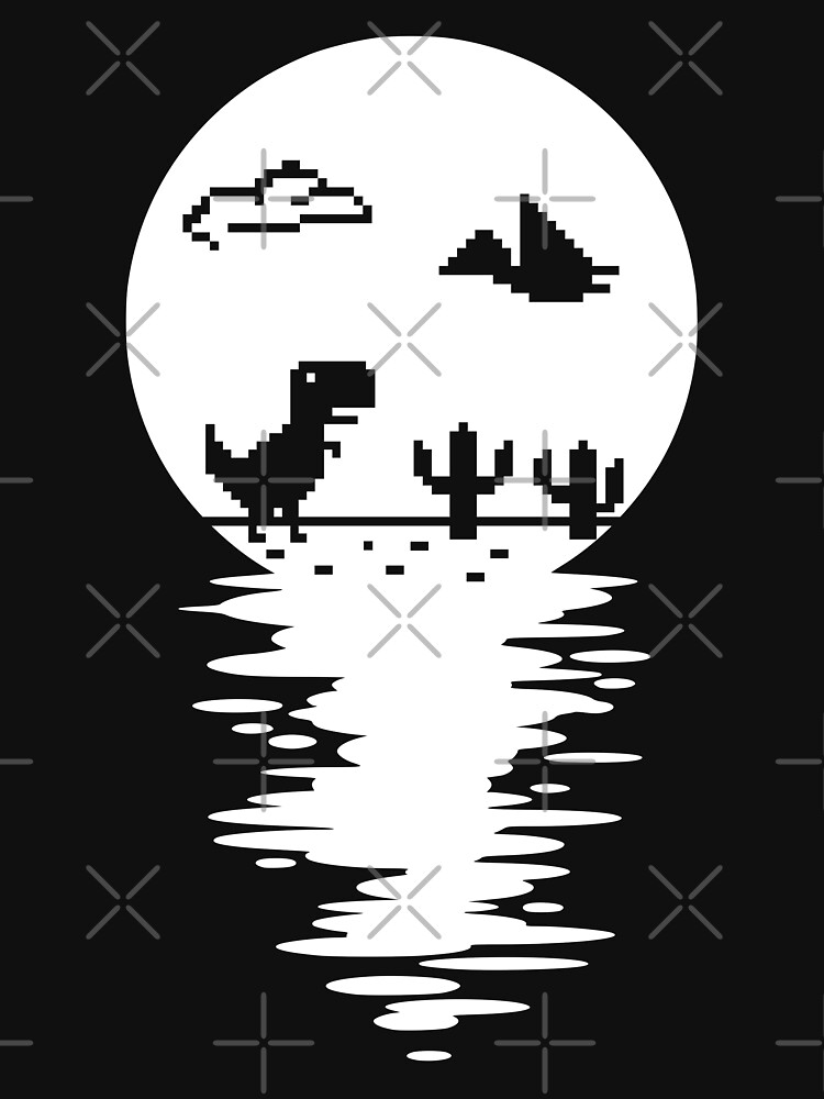 Mysterious T Rex Offline Full Moon Water Reflection by gengns