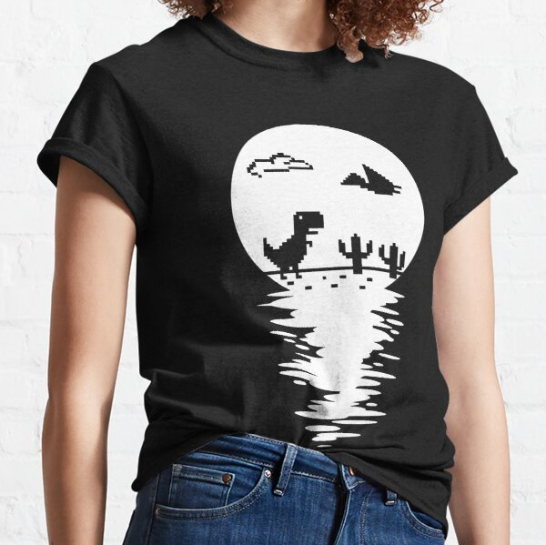 Mysterious T Rex Offline Full Moon Water Reflection Classic T-Shirt