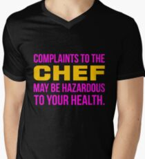Complaints to the chef may be hazardous to your health - yellow & pink print Mens V-Neck T-Shirt