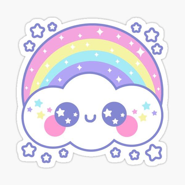 Happy Rainbow Cloud - Black Sticker
