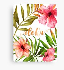 Hawaiian Tropical Floral Aloha Watercolor Canvas Print