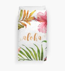 Hawaiian Tropical Floral Aloha Watercolor Duvet Cover