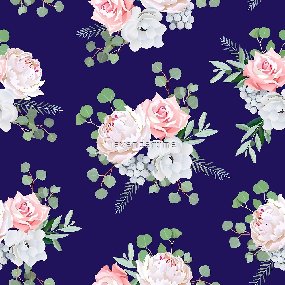 Navy pattern with bouquets of rose, peony, anemone, brunia flowers and eucalyptus leaves by lavendertime
