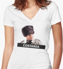 Costanza's Russian Hat Women's Fitted V-Neck T-Shirt