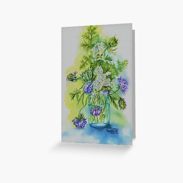 wild flowers in glass jar. Greeting Card