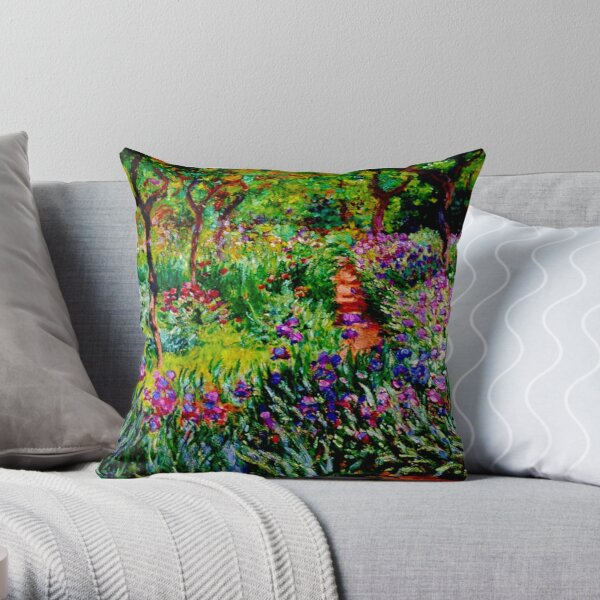 Claude Monet | 'Le Jardin aux Iris à Giverny' -  'The Iris Garden at Giverny'  Throw Pillow