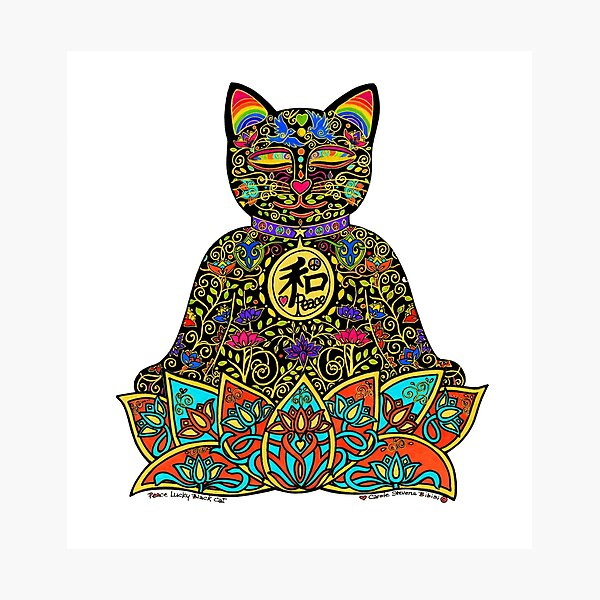PEACE MANEKI NEKO LUCKY BLACK CAT Photographic Print