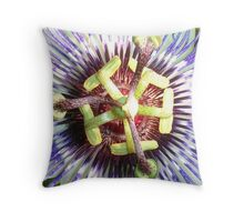 Close Up of The Centre Of a Passiflora Flower Throw Pillow