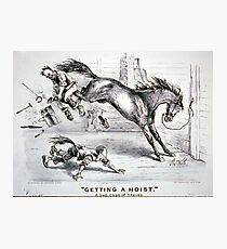 Getting a hoist - a bad case of the heaves - 1875 - Currier & Ives Photographic Print