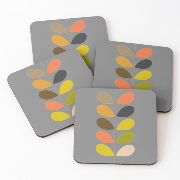 abstract colorful  stem- orla kiely design  Coasters (Set of 4)