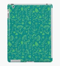 Green Floral Pattern - Japanese Brush iPad Case/Skin