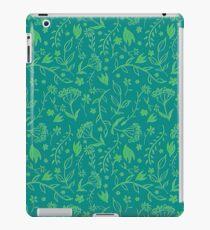 Green Floral Pattern - Japanese Brush iPad Case/Skin