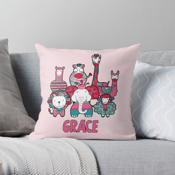 Doodle Critters Grace Throw Pillow