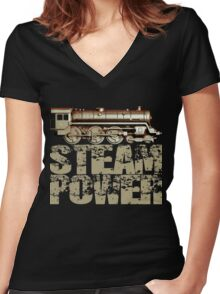 Steam Power Vintage Steam Engine Women's Fitted V-Neck T-Shirt