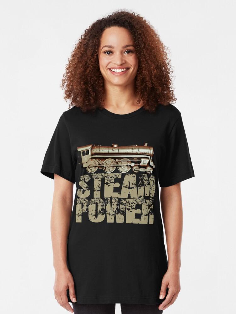Alternate view of Steam Power Vintage Steam Engine Slim Fit T-Shirt