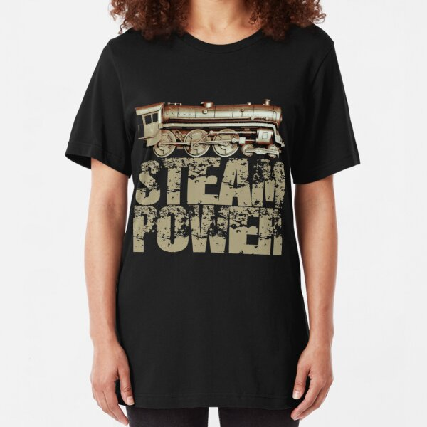 Steam Power Vintage Steam Engine Slim Fit T-Shirt