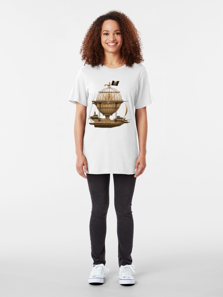 Alternate view of Steampunkesque Vintage Hot Air Balloon Airship Thing Slim Fit T-Shirt