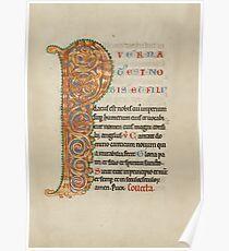 Illuminated Manuscript - Inhabited Initial P (1180 AD) Poster