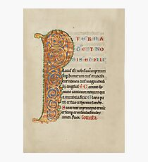 Illuminated Manuscript - Inhabited Initial P (1180 AD) Photographic Print
