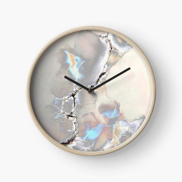 Silver, blue and black abstract Clock
