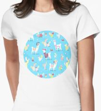 Alpaca Pattern Womens Fitted T-Shirt